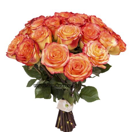 Оранжевые розы в букете