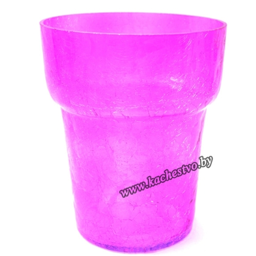 Стеклянный горшок для орхидей фиолетового цвета.