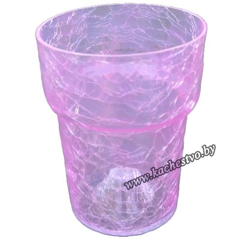 Горшок для орхидей из прозрачного фиолетового стекла.