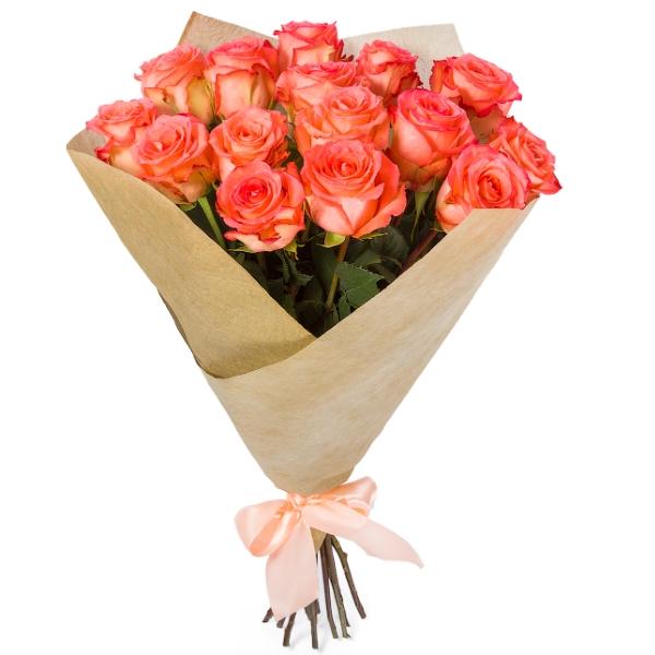 Классический букет из 15 розовых роз.