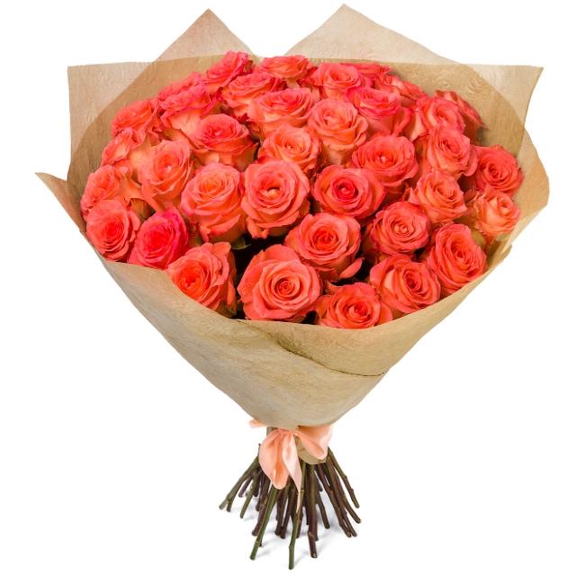 Букет розовых роз сорта Дуэт