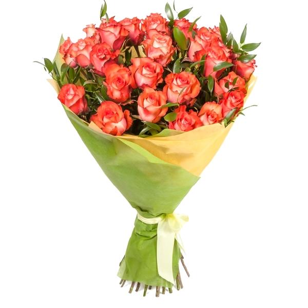 Букет двухцветных роз дуэт.